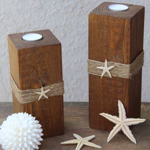 Bon Beach Candle Beach Decor Candles Beach Bathroom Decor 4x4 Wood Candle  Holder With Starfish Coastal Home