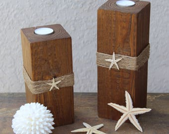 Beach candle Beach decor candles Beach bathroom decor 4x4 wood candle  holder with starfish Coastal home
