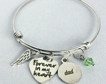 Forever in my Heart, DAD Memorial Bracelet, In Memory of Father, Memorial Jewelry, Loss of Father, Sympathy Gift