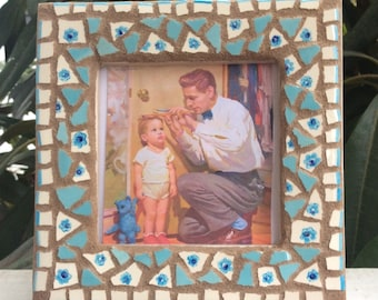 Mosaic Picture Frame, Blue Flowers