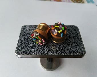 Chocolate Donut Ear Tunnel - Cute Miniature Food ear gauges for stretched ears, polymer clay food tunnels, donut ear plugs