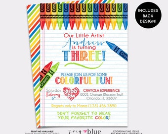 Art Party Birthday Invitation - Crayon Party Painting Drawing Invite Boy birthday Coloring Invitation Striped Colorful - Digital File