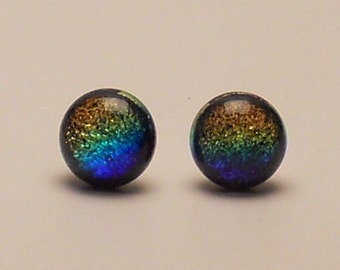 Sand and Surf Blue and Yellow Dichroic Glass Post Earrings