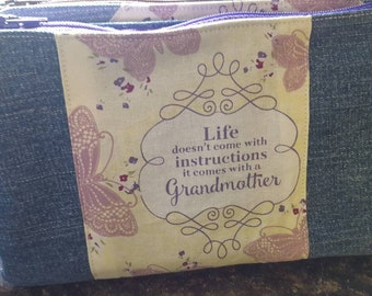 Life Doesn't Come with Instructions, Grandmother Denim Wallet Wristlet