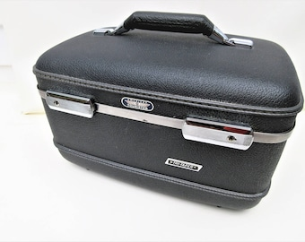 Vintage Train Case | American Tourister Luggage | Toiletry Case | Gray Train Case | Original Key | Makeup Tray - As Is