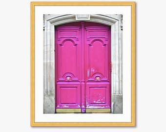 Paris Photograph -- Pink Doors -- Travel Photography -- 8 X 10 Inch Print