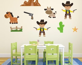 Wild West Cowboy Wall Stickers Cowboy Wall Decals Boys Wall Art Animal Wall  sc 1 st  Etsy & cowboy wall art cowboy wall decals boys room cowboy wall decor
