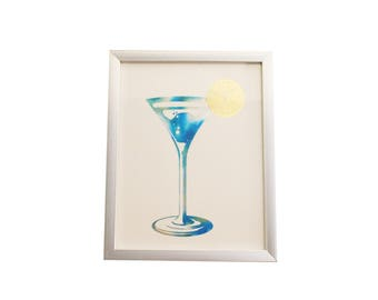 Blue Martini Foiled Print- with Silver frame INCLUDED!