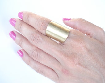 Bronze Wide Cuff Contemporary Ring Handmade Matte faced Brass Ring Modern Statement Adjustable Band Ring