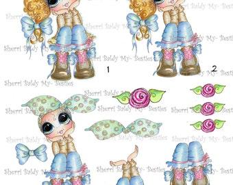 Instant Download Pondering Patunia 3D Decoupage kit Besties Big Head Dolls Digi By Sherri Baldy
