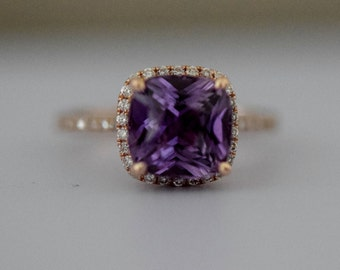 Purple Sapphire Ring Rose Gold Engagement Ring 14k diamond ring Mauve Purple Violet Cushion Sapphire 3.25ct sapphire ring by Eidelprecious