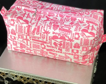 Pink summer print boxed zipper pouch