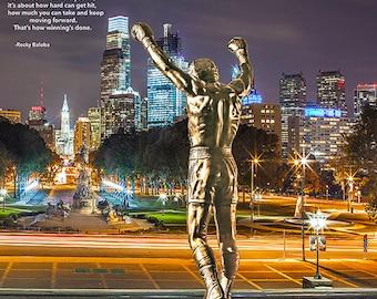 Philadelphia skyline with Rocky Statue ,Canvas Art ,wall Art,Photo,Saying(12 x14)