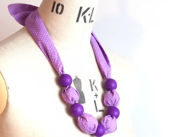 Statement, scarf necklace in lilac ditsy spot, cotton fabric with purple wooden beads