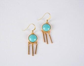 Turquoise and Tassel Geometric Earrings // Tassel Earrings // Turquoise Earrings // Geometric Jewelry // Mixed Metal Earrings
