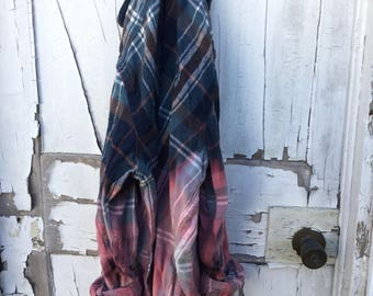 2xl Navy Brown Pink Teal Faded Vintage Wash Flannel