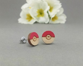 Pokemon Poke Ball Earrings - Laser Engraved and Cut Post Titanium Stud Earring Pair Hand Painted Red