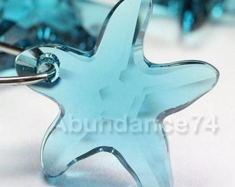 2pcs Swarovski Elements - Swarovski Crystal Pendant 6721 16mm Starfish Pendant - Indicolite