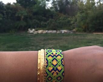 handmade custom made woven friendship bracelet. women wear. holiday gifts. fall fashion. beach wear. cotton knotted threads. aztec pattern