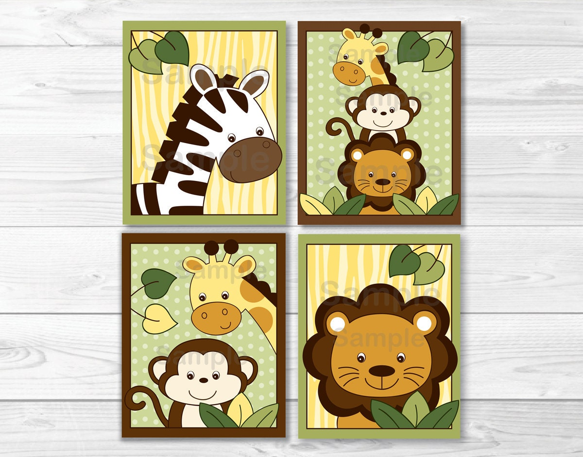 Selective image in printable jungle animals