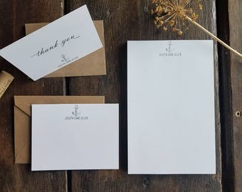 Personalized Nautical Stationery set, Memo Pad, Flat Cards, Thank You, Vintage Anchor, Monogram, Personalized stationery, Custom Gift, RD051