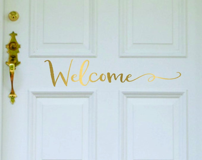 Farmhouse Welcome Door Decal // Welcome Decal // Welcome Decal For Front  Door /