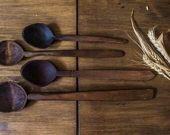 Wooden spoons set. Rustic wooden decor.