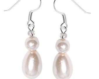 Pearl Earrings White Pearl drops Pearl shell 925 Silver earrings Pearl (No. OPR-71)