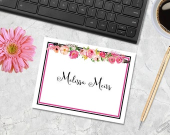 Floral Note Cards - Personalized Note Cards, Custom Note Cards, Thank You Notes, Monogrammed Note Cards, Stationery Set, Floral Cards