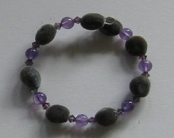 Hawaiian Mgambo seed, 6mm round amethyst and lilac AB Swarovski crystal bracelet - handmade in Hilo, Hawaii