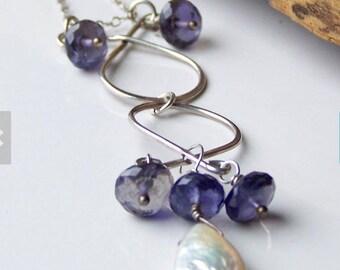 Perle und Iolite, Handwerker Halskette, Draht gewickelt Halskette, Sterling Silberkette, Tropfen, einzigartige Halskette, Etsy