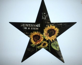 Black Barn Star Sunflower Seed Spring Summer front door Fall home decor Sunflower Star Front door decor Wall hangings Year round home decor