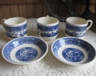 Blue Willow Ware Dessert Bowls (2) and Coffee Cups (3) Vintage Dinnerware and Replacements Farmhouse Rustic Blue and White Decor Chinoiserie