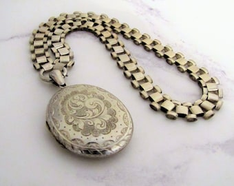 Antique Victorian Sterling Silver Puffy Locket Book Chain Necklace. English Aesthetic Era Engraved Large Oval Locket & Collar Necklace C1880