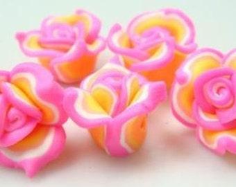 5 Piece Handmade Pink, Orange Clay Flower Bead Cabochons - Kawaii Decoden Flatback (TDK-C1549)
