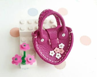Mini Magenta Leather Fashion Heart Flower Doll Hand Bag For Azone Pure Neemo Pukifee Lati Neo Blythe HandMade