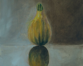 Autumn gourd original oil on canvas, painting,  standing, reflection, green, yellow, earth colour, nature, celebration, birthday gift.