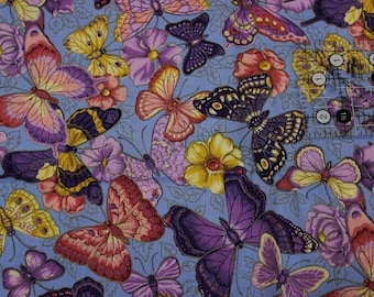 """Butterflies on blue with gold accents Purple Lavender Rose Yellow by Joan Messmore  100% cotton fabric  42""""-44"""" wide Cranston print works"""