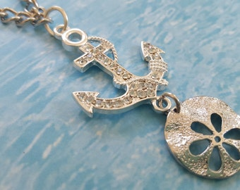 """Anchors Away! Beach, Nautical Pendant Necklace: Silver + Rhinestone Anchor+Silver Metal Sand Dollar on 21"""" Silver Link Chain+Lobster Clasp"""