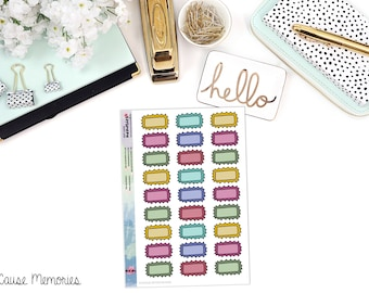 DOODLE SPIKE BOXES Paper Planner Stickers - Mini Binder Sized/3 Hole Punched