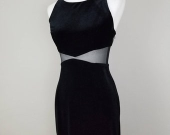 1990s fuzzy black cut out mesh dress // size 6 // 90s