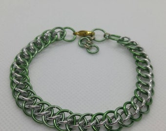 Green and silver dragon tail chainmail bracelet | Anodized Aluminum bracelet | Chainmaille Bracelet