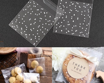 100pc Cookie Bags Self Adhesive Party Favor Polka Dot Opp Bag Packaging Cellophane With Snow White Dots Wedding Gift Candy Soap Gifts Favors