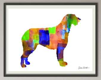 irish wolfhound art print watercolor print  silhouette painting print poster wall art decor drawing, dog wall art poster