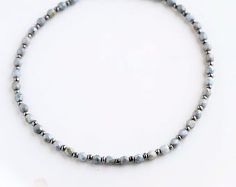 Faceted Blue-Gray and Gray Beaded Choker Necklace