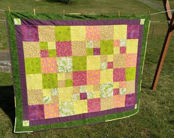 Double-sided Quilt for a Girls Room in Purple Pink Green Yellow Butterflies Ferns and Flowers