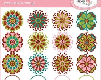 50%OFF Boho flowers clip art, flower clip art, hippie flower clip art, floral clip art, round frames clip art for scrapbooking C44