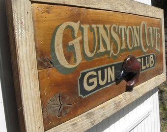 Gunston Cove Gun Club with reclaimed barn wood trim Handmade and lettered sign. Handcarved decoy head. Great gift for collectors or decor.