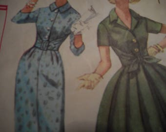 Vintage 1950's Simplicity 3034 Dress with Two Skirts Sewing Pattern Size 16 Bust 36