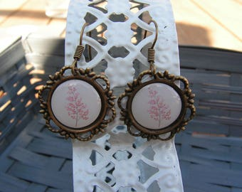 Vintage cherry blossom cabochon earrings